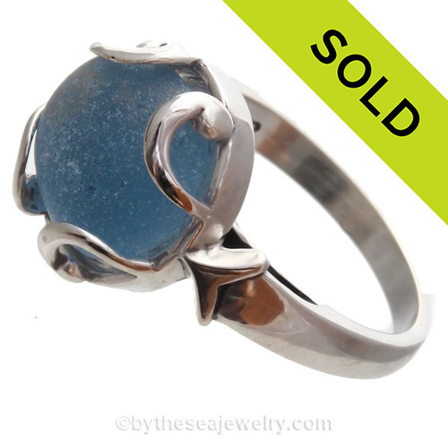Medium Blue Beach Found Seaham Sea Glass In Sterling Silver Bezeled Dome Ring - Size 8