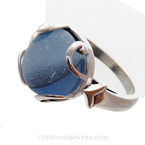 PERFECT Multi Blue Beach Found Seaham Sea Glass In Sterling Silver Bezeled Dome Ring - Size 8