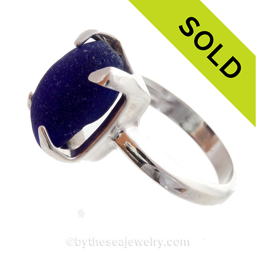Midnight Blue Glass Beach Found Sea Glass In Sterling Silver High Profile Ring - Size 8