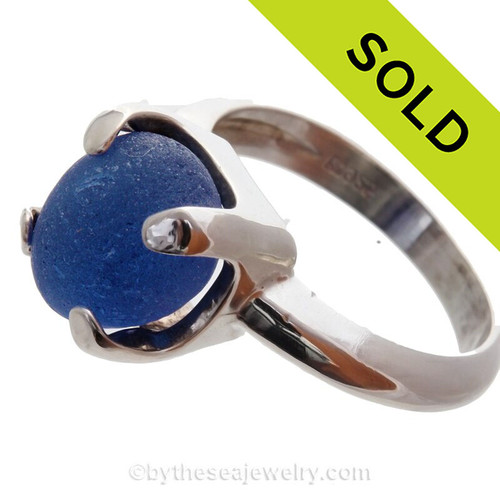 Blue Sea Glass Beach Found Gemball In Sterling Silver High Profile Ring - Size 8
