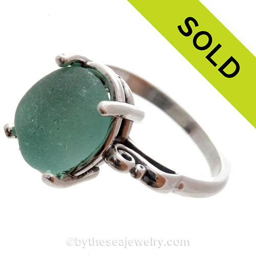 Aqua Sea Glass Ring in a Solid Sterling Silver Scroll Setting