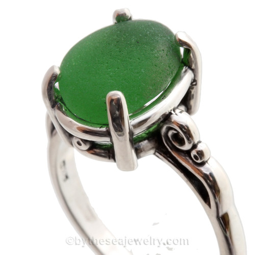 Brilliant Green Sea Glass in a Solid Sterling Scroll Setting