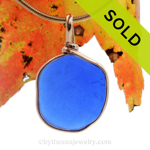 Roundish Cobalt Blue Genuine Sea Glass pendant set in our 14K Goldfilled Original Wire Bezel.