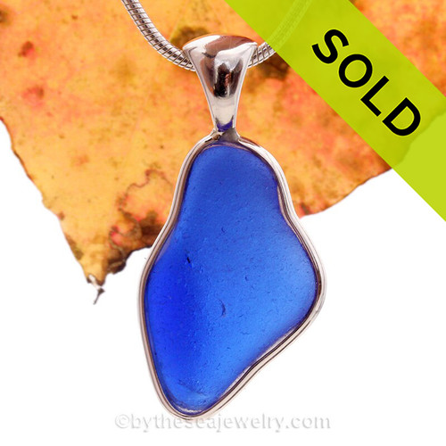 Lovely Organic shaped Cobalt Blue Sea Glass Bottle Bottom In a Solid Sterling Silver Wire Bezel© Necklace Pendant