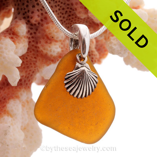 "Vivid Amber Brown Beach Found Sea Glass Necklace W/ Sterling Silver Shell Charm - 18"" Solid Sterling CHAIN INCLUDED"