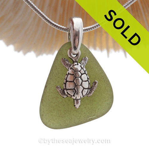 Peridot Green Sea Glass Necklace with Beach found sea glass and a Solid Sterling Silver Turtle Charm with a Solid Sterling Silver Snake chain.