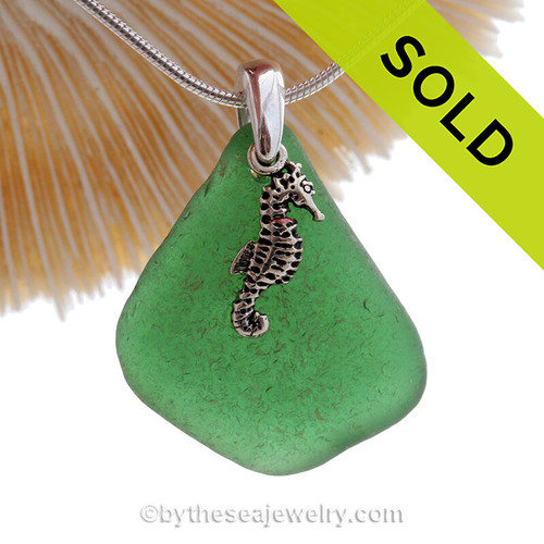 Unusual Saturated Green Sea Glass With Sterling Seahorse Charm - S/S CHAIN INCLUDED