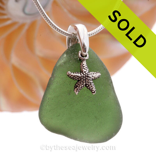 """Beautiful Seaweed Green sea glass set on a solid sterling cast bail with a sterling silver Starfish charm. The sea glass necklace comes on our 18"""" solid sterling smooth snake chain (SHOWN and included)"""