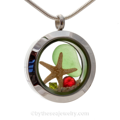 Green Genuine Sea Glass and vivid bright red and peridot green gemstones make this a great locket necklace for the holidays.