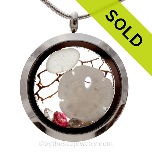 "Pure White Genuine Sea Glass Locket With Sandollar & Tourmaline & ""Diamond"" Gemstones - October Birthstone"
