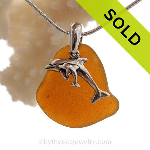 Bright Amber Brown Sea Glass With Sterling Small and Large Dolphins Charm - S/S CHAIN INCLUDED