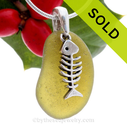 Bright Peridot Green Sea Glass Necklace With Sterling Fish Bones Charm - S/S CHAIN INCLUDED