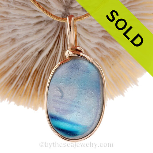 Watercolor Dream- Ultra Rare 4+ Color Seaham Multi in our Original 14K Goldfilled Bezel Pendant for Necklace