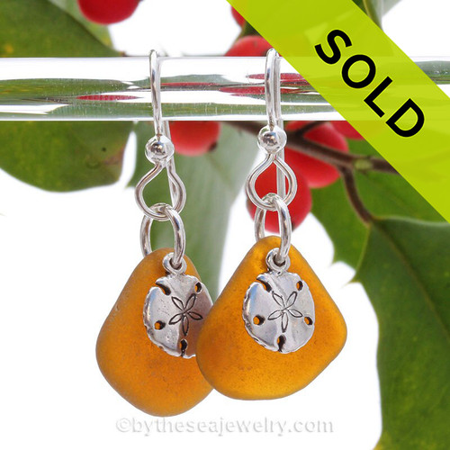 Amber Brown Sea Glass Earrings W/ Solid Sterling Sandollar Charms