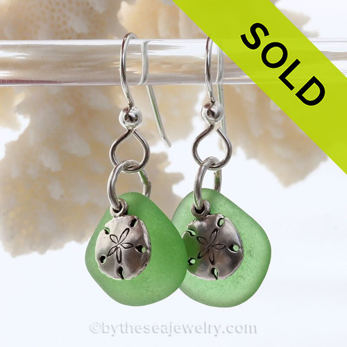 Nice green Sea Glass Earrings W/ Solid Sterling Sandollar Charms