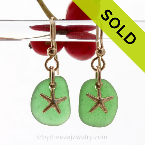 Perfect beach found green sea glass pieces are set with 14K Goldfilled starfish charms on professional grade earring wires.