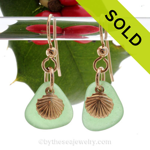 Genuine Green Sea Glass Earrings On Gold With G/F Shell Charms