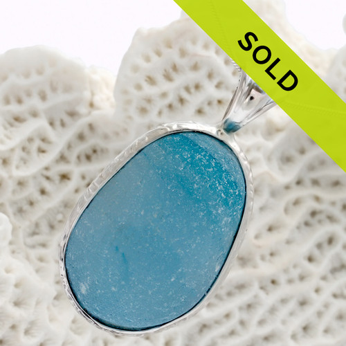 HUGE Mixed English Aqua Blue Sea Glass In Sterling Deluxe Wire Bezel©