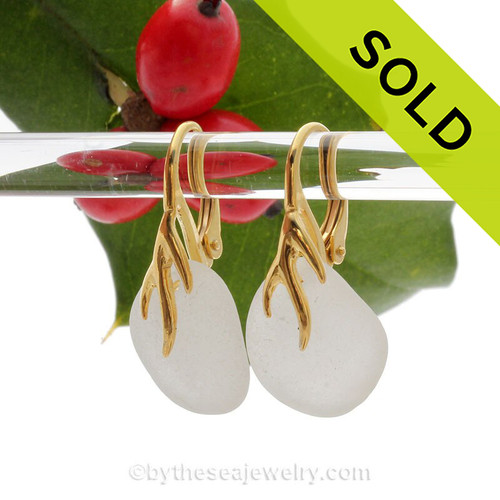 Pure White Sea Glass Earrings on 24K Gold Vermeil Coral Branch Earrings