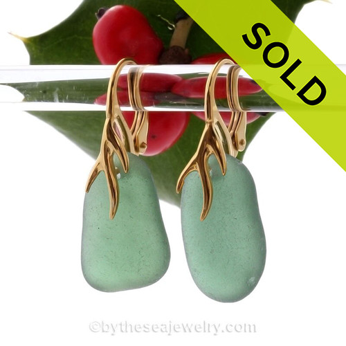 Larger Warm Seaweed Green Sea Glass Earrings on 24K Gold Vermeil Coral Branch Earrings