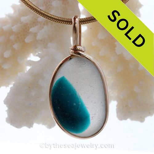 VERY LARGE P-E-R-F-E-C-T Mixed Vivid Turquoise Sea Glass In Original Gold Wire Bezel© Pendant