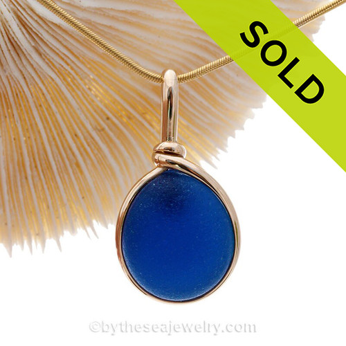 Deep Blue Seaham Sea Glass Gemball In Original Gold Wire Bezel© Pendant