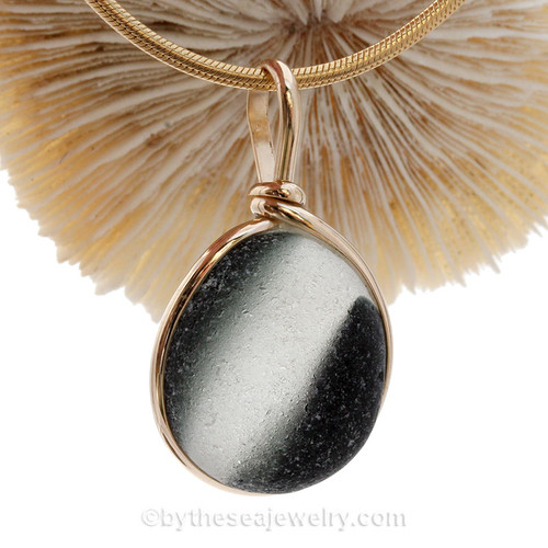 A large perfectly round mixed Black Green Seaham Sea Glass Pendant in our Original Wire Bezel© setting in 14K Goldfilled A stunning and unusual piece.