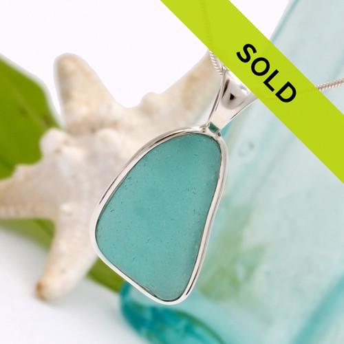Vivid Aqua Blue Sea Glass In Silver Deluxe Wire Bezel©