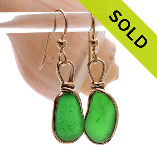 These are the exact pair you will receive~ Natural Genuine UNALTERED sea glass pieces in a Vivid Green wrapped in 14K Rolled Gold for a lovely classic pair or earrings!