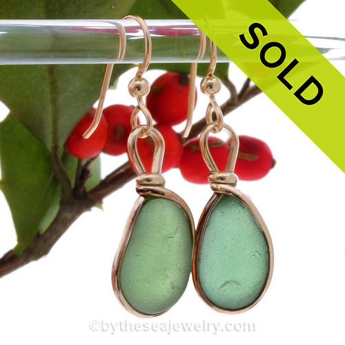 Sea Weed Green beach found Sea Glass Earrings set in our signature Original Wire Bezel© setting in gold.