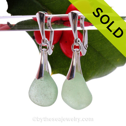 Bright Sea Green Genuine Sea Glass Solid Sterling Silver Dangly Deluxe Leverback Earrings.