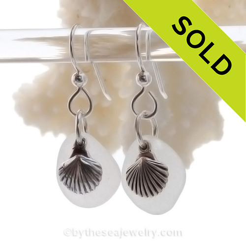 Sea Glass Earrings In White on Sterling Silver With S/S Shell Charms