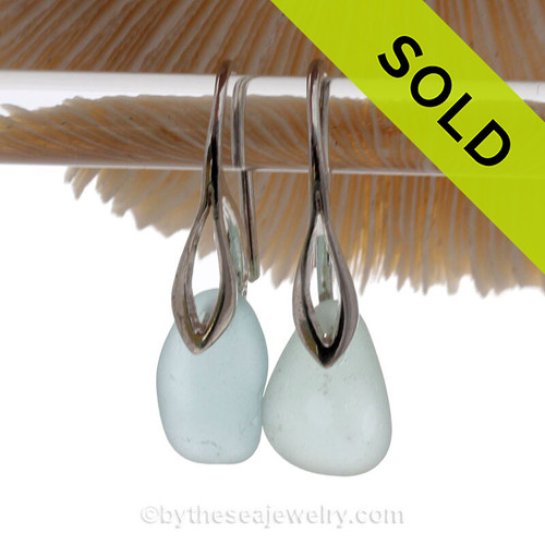Palest Aqua Blue Sea Glass Earrings on Solid Sterling Deco Hooks