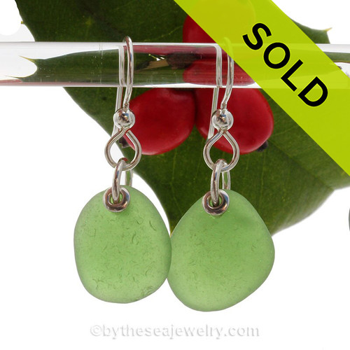 Simply Sea Glass -Large Perfect Green Sea Glass Earrings On Solid Sterling Silver Silver Earwires
