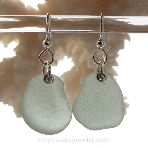 Simply Sea Glass - Large Beautiful Seafoam Green Sea Glass Earrings On Sterling