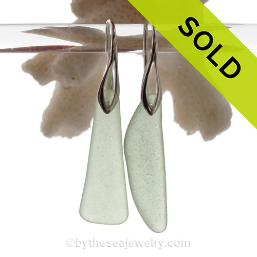 Long Seafoam  Green Sea Glass Earrings on Solid Sterling Deco Hooks