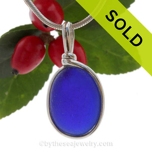 A  P-E-R-F-E-C-T Deep Rich Cobalt Blue Genuine Sea Glass pendant set in our Solid Sterling Silver Original Wire Bezel.