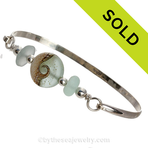 Tropicale Seas -Genuine Sea Glass Sterling Silver Bangle Bracelet with Wave Bead