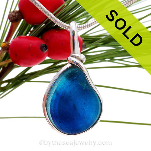 Mixed Vivid Blue and  Aqua English Sea Glass Solid Sterling Silver Original Wire Bezel© Pendant