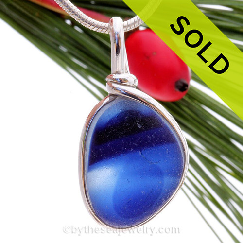 Squid Ink - Large Inky  Vibrant Blue Mixed English Sea Glass In Solid Sterling Wire Bezel© Necklace Pendant
