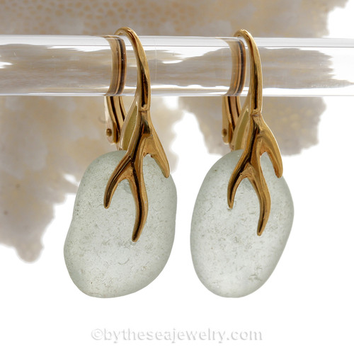 Larger Bright Fresh Sea Green Sea Glass Earrings on 24K Gold Vermeil Coral Branch Earrings