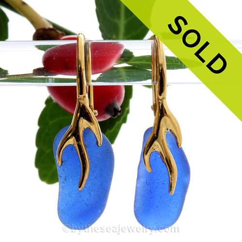 Longer Thick Cobalt Blue Sea Glass Earrings on 24K Gold Vermeil Coral Branch Earrings