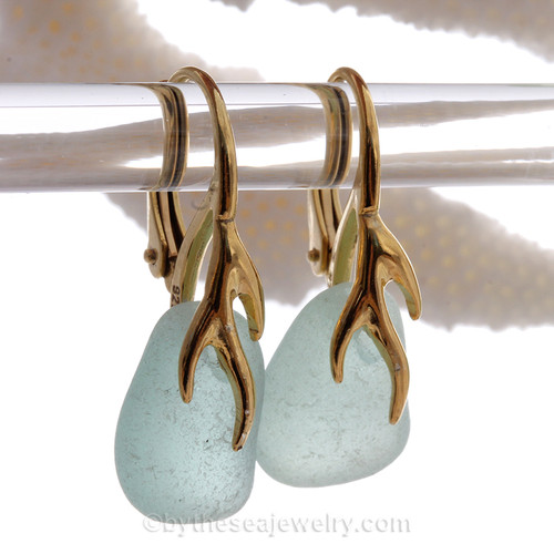 Thick frosty Aqua Blue Sea Glass Earrings on 24K Gold Vermeil Coral Branch Earrings