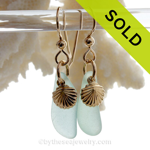 Aqua Blue Green Sea Glass Earrings On Gold With Shell Charms