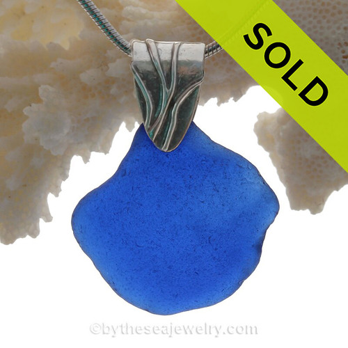 HUGE Genuine Cobalt Blue Sea Glass Necklace On Sterling Coral Branch Bail- Solid Sterling Chain INCLUDED