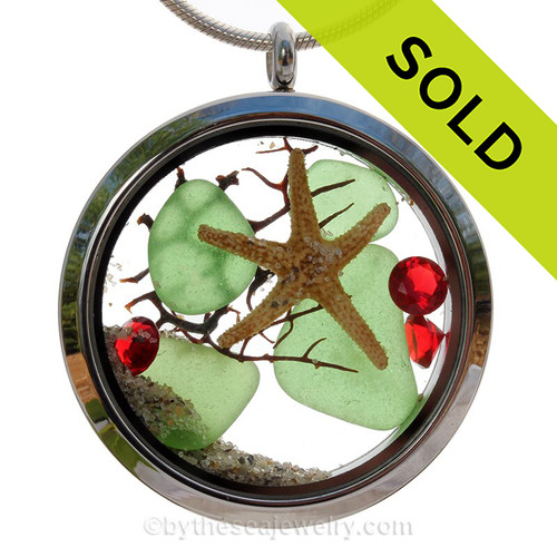 Seaside Holiday  - Green Sea Glass With Starfish Holiday Crystals in a Large Crystal Locket