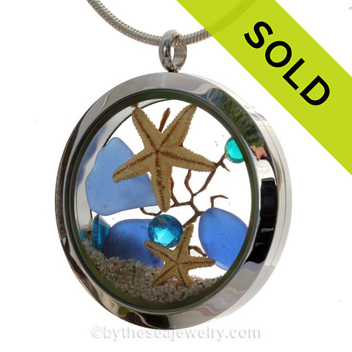 December Under The Sea - Genuine Blue Sea Glass, Starfish and Crystal Gems- Large Locket