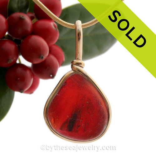 Super Ultra Rare Mixed Red End OF Day Slag Sea Glass In 14K F/G Original Wire Bezel