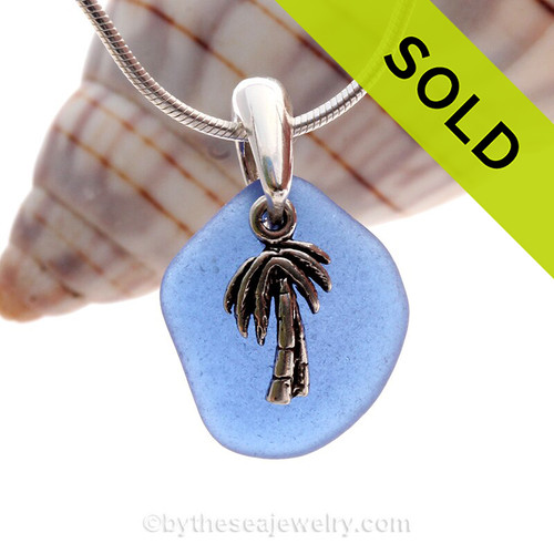 Blue Sea Glass Necklace On Sterling Bail With Sterling Palm Tree - S/S CHAIN INCLUDED