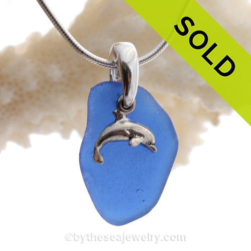 Blue Sea Glass Necklace On Sterling Bail With Sterling Jumping Dolphin - S/S CHAIN INCLUDED